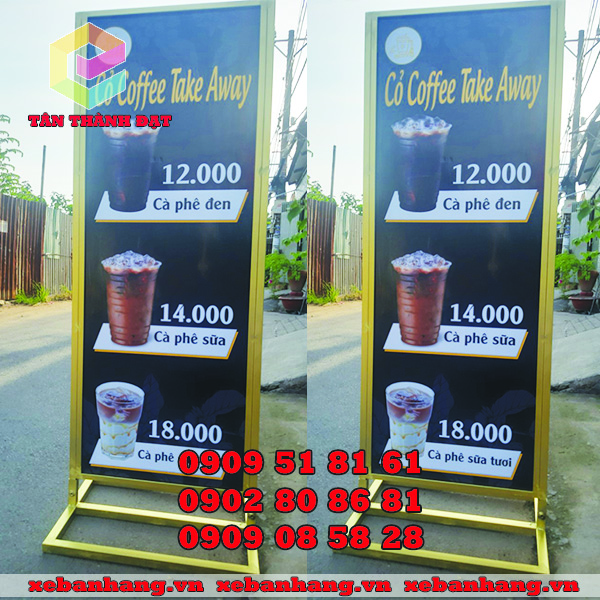 bang standee quang cao cafe