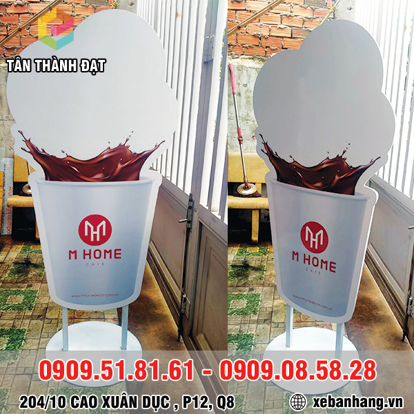 standee quang cao hinh ly ca phe